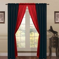 Amazon.com - 6 Piece Lana Faux Silk Window Curtain Panels Black/Red - Window Treatment Curtains