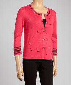 This Fuchsia Dot Cardigan by Colour Works is perfect! #zulilyfinds