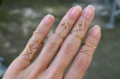 Gold Wire Rune Rings Set Handmade Wire Jewelry by theELEPHANTpink