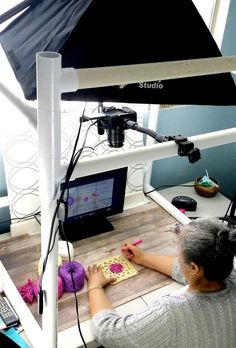 Yolanda Soto-Lopez at work on one of her videos // This Latina Abuela's Crocheting Tips Made Her a YouTube Sensation