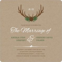 Brown Rustic Antlers Wedding Invitation from Invite Shop. I like the kraft paper background. #RusticWeddingInvitations #RusticWedding #RusticWeddingIdeas