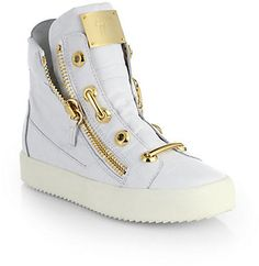 Giuseppe Zanotti Croc-Embossed Leather Hard Lace Detail High-Top Sneakers
