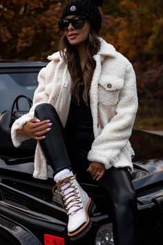 I've always been a sucker for shearling boots but they're now available in a myriad of other footwear silhouettes, including mules, ballet flats and more. Here, I'm wearing Marc Fisher shearling hiker boots in white. #fallboots #leatherleggings #casualoutfit #style Stylish Outfits, Winter Outfits, Fashion Outfits, Women's Fashion, Combat Boot Outfits, Women Lifestyle, Cool Street Fashion, Outfit Posts, Autumn Winter Fashion