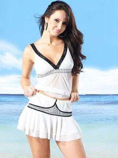 White Sexy V-Neck Two-Piece Womens Spandex Skirt Set - Clubwear - Women's Clothing