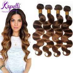 8A Brazilian Virgin Hair Body Wave Ombre Hair Extensions 4Pcs/lot Cheap Brazilian Hair Weave Bundles Soft Ombre Human Hair T4/30 * Find out more by clicking the VISIT button