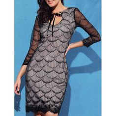 Graceful Fish Scale Hollow Out 3/4 Sleeve Dress For Women