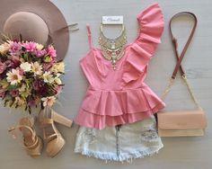 Summer Outfits, Cute Outfits, Denim Crop Top, Fashion Forms, Fashion Outfits, Womens Fashion, Casual Looks, Ideias Fashion, Peplum