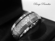 Tungsten Wedding Bands 6mm& 8mm, Meteorite Inlay Ring, Engagement Gifts, Engagement Rings, Promise Tungsten Rings By Rings Paradise by RingsParadise on Etsy