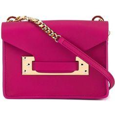 Sophie Hulme Nano Milner Crossbody Bag (4.375.450 IDR) ❤ liked on Polyvore featuring bags, handbags, shoulder bags, pink leather handbag, mini crossbody, leather crossbody handbags, leather cross body purse and leather handbags