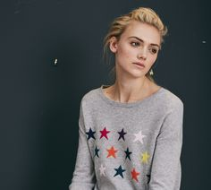 Buy Luxury Designer Online Womens Clothing UK including Cashmere Jumpers with unusual details - lurex stitching & colour block from Wyse London! Cashmere Jumper, Cosy, Color Blocking, Christmas Sweaters, Graphic Sweatshirt, London, Star, Luxury, Sweatshirts