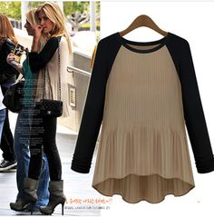 cheap elegant long sleeve casual chiffon blouses women vintage shirts new fashion 2014 spring autumn pleated top black khaki $15.99