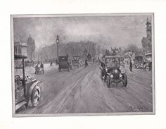 Prints, drawings, cartoons, paintings  of cars 1904-1930