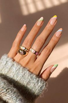 Almond Acrylic Nails, Best Acrylic Nails, Almond Nail Art, Nail Designs Spring, Cute Simple Nail Designs, Fun Nail Designs, Nail Designs Tumblr, Almond Nails Designs Summer, Natural Nail Designs