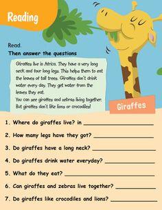 Reading about giraffes worksheet