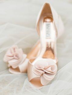 Blush pink Valentino wedding shoes: http://www.stylemepretty.com/little-black-book-blog/2015/11/25/autumn-orchard-wedding-inspiration/ | Photography: Callie Hobbs - http://calliehobbsphotography.com/