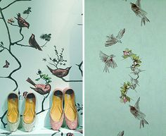 wall paper design interior by Louise Body Bird Wallpaper, Bedroom Wallpaper, Designer Wallpaper, Wallpaper Designs, Interior Walls, Textured Walls, Wall Murals, Quilts, Patchwork Quilting