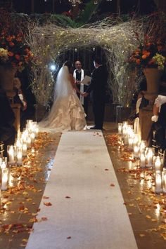 Candle aisle markers...would be nice with arrangements as well