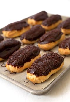 A tray of Chocolate Eclairs