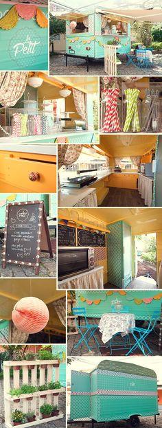 Food Inspiration Decora Food Truck (Foto: Felipe Costa) Amei o varal de crochê. Food Trucks, Kombi Food Truck, Vegan Food Truck, Coffee Carts, Coffee Truck, Coffee Shop, Food Truck Design, Food Design, Design Ideas