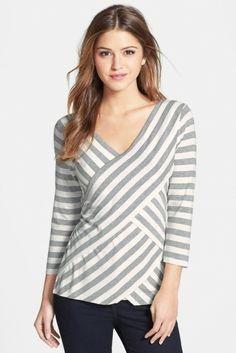 Vince Camuto Tiered Stripe Top