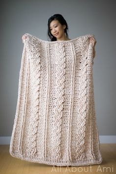 Chunky Braided Cabled Blanket - free crochet pattern and tutorial by Stephanie Lau at All About Ami. Gorgeous. More