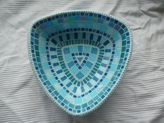 Super Cool Aqua Triangle Mosaic Fruit Bowl - Ocean Blue Turquoise Teal Silver