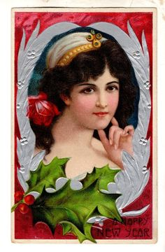 US3397 Postcard Beautiful Woman in Silver frame with Holly
