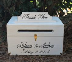 Country Wedding Card Box, Rustic Chest Personalized Bride Groom Names and Date Custom Wood shabby style Weddings