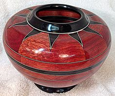 "Southwestern Star Bowl by Bob Loyd:  Built from a Kevin Neelley design.   Woods Used: Bloodwood and Ebony accented by Holly and dyed black veneer   Dimensions: H: 5-1/4"" X W: 7-1/2"" Lathe Projects, Wood Turning Projects, Wood Projects, Wood Vase, Wood Bowls, Segmented Turning, Bowl Turning, Laser Cut Wood, Wood Creations"