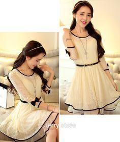 New Moda Coreana Juvenil Elegante 45 Ideas Trendy Dresses, Cute Dresses, Fashion Dresses, Vestidos Country, Korea Dress, Indian Designer Outfits, Vestidos Vintage, Korea Fashion, White Outfits