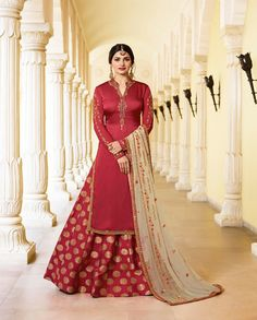 Prachi Desai Maroon Georgette Satin Lehenga with Silk Jacquard Palazzo Style Suit. This suit is adorned with zari and thread embroidery and stone work. Comes with a Beige color matching dupatta. Prachi Desai, Palazzo Style, Sharara Suit, Indian Designer Wear, Beige Color, Lehenga, Satin, Stone Work, Silk