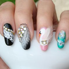 swan nail art design using real feathers as inspired by Lauren Wireman