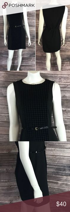 CK  Sheath Dress Size 8 Black Textured Houndstooth Calvin Klein Womens Sheath Dress Size 8 Black Textured Houndstooth Belted. Measurements: (in inches) Underarm to underarm: 17.5 Length: 34 Waist: 35  Good, gently used condition Calvin Klein Dresses