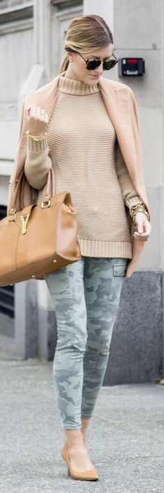 Camel On Camo Fall Inspo by Chic Street Style