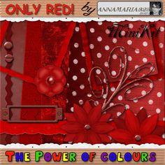 Freebies by annamaria323: Mini-zestaw OnlyRed!. Minicolección de papeles y elementos en color rojo.
