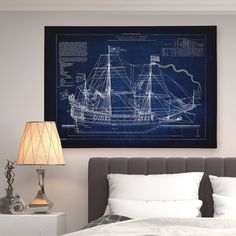 Wexford Home Vintage Sailing Ship Sketch - Premium Gallery Wrapped Canvas