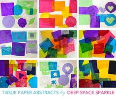Easy shape collage art project. Ask preschoolers to include one of each shape available, and in different sizes. Notice how tissue paper is transparent and overlapping designs create new shades of color, too!
