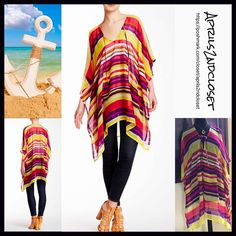 """Poncho Coverup Long Cape Tunic 💟 NEW WITH TAGS 💟 ***Tagged one size fits most Poncho Coverup Long Tunic Cape Retail Price:$48 ***Tagged one size fits most  * Chiffon fabric w/ beautiful striped print  * A longer length & lightweight for layering; An oversized loose knit fit   * Wide 3/4 long poncho sleeves  * About 33-38"""" long  * Pullover style Fabric: 100% Polyester Color: Red Yellow Combo Item:B91700  🚫No Trades🚫 ✅ Offers Considered*✅  *Please use the blue 'offer' button to submit an…"""