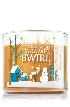 """Cinnamon Caramel Swirl - 3-Wick Candle - Bath & Body Works - The Perfect 3-Wick Candle! Made using the highest concentration of fragrance oils, an exclusive blend of vegetable wax and wicks that won't burn out, our candles melt consistently & evenly, radiating enough fragrance to fill an entire room. Topped with a festive, snowflake-embossed silver lid! Burns approximately 25 - 45 hours and measures 4"""" wide x 3 1/2"""" tall."""
