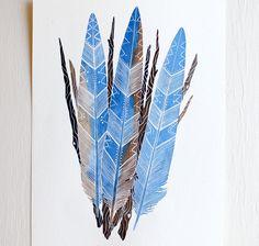 Blue Jay Feather Bundle  Watercolor Art Painting  par RiverLuna, $20.00