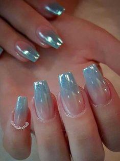 Unicorn nails gradient with a chrome like finish tonysnail Hot Nails, Hair And Nails, Gorgeous Nails, Pretty Nails, Crome Nails, Nagel Hacks, Fancy Nails, Cute Nail Designs, Creative Nails