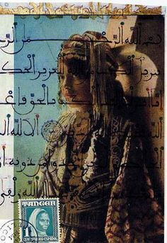 Mail art with beautiful old-style arabic writing over image, stamp from Tanger, Morocco.