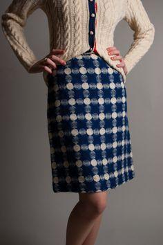 Blue and white circle pattern tweed pencil skirt