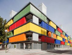 Image 1 of 37 from gallery of Housing Building in Carabanchel / Amann Canovas Maruri. Photograph by Miguel de Guzmán Architecture Concept Drawings, Colour Architecture, Facade Architecture, School Architecture, Container Architecture, Building Facade, Building A House, School Building Design, Shipping Container Buildings