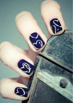 #blue#heart#nail