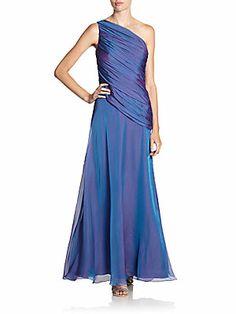 Iridescent Silk Chiffon Gown