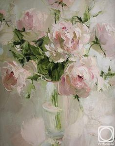 Painting «Not titled Acrylic Flowers, Abstract Flowers, Paintings I Love, Beautiful Paintings, Peony Painting, Painting Art, Still Life Art, Arte Floral, Flower Art