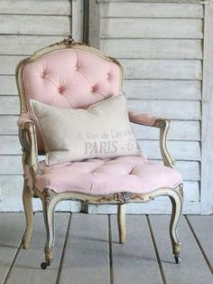 pink chair, paris pillow...perfection by sara