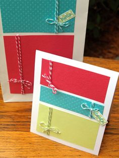 Love crafts like this one...such cute Color blocking and twine cards