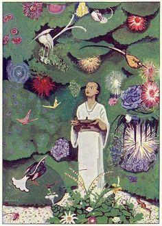 "Aladdin in the Magic Garden (illustration by Max Liebert from Ludwig Fulda's ""Aladin und die Wunderlampe"") Aladdin, Creative Writing For Kids, Images Kawaii, Dubai Miracle Garden, Magic Garden, Fairy Tales For Kids, Garden Illustration, Arabian Nights, Kew Gardens"